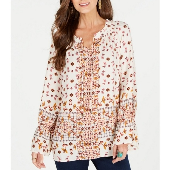 Style & Co Tops - STYLE & CO Printed Peasant Top